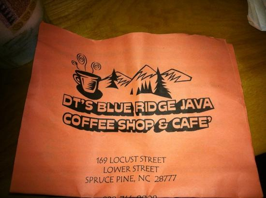 D T's Blue Ridge Java: front of take out menu I got at hotel