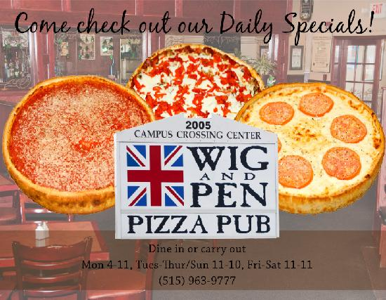 Wig and Pen Pizza Pub: Hours And Pizzas