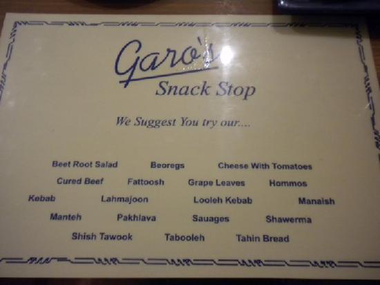 Garo's Snack Stop : Their menu
