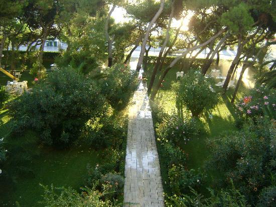 il viottolo che attraversando il giardino porta dall' Hotel Fabiola al Lido Blu