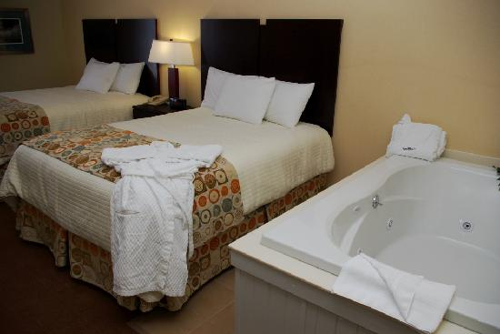 Cherry Tree Inn & Suites: Petoskey Studio - Two Queen Pillow-top Beds, Jacuzzi, Expanded Kitchenette Studio with Bay View