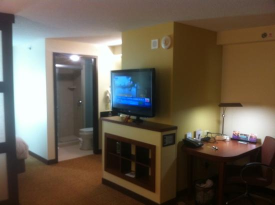 Hyatt Place Madison: the sleeping and living areas share an LG flatscreen
