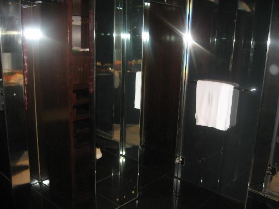 Hesperia Tower : bathroom all chrome, marble and oak. Lovely.