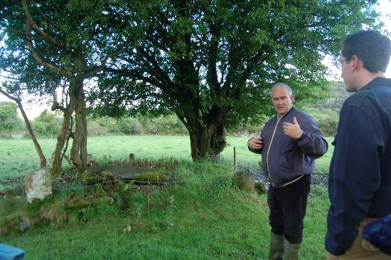 Salmon Leap Farm: Sean playing tour guide, telling us about the early Christian cemetery on their land.
