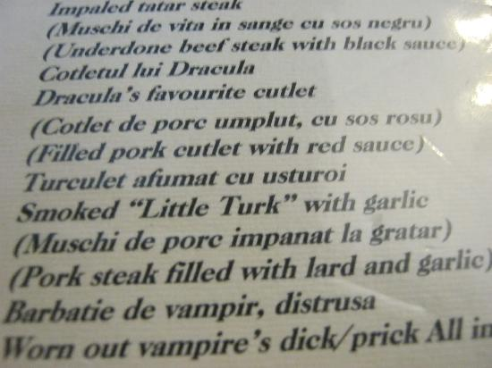 Hunter Prince Castle & Dracula Hotel: funny menu