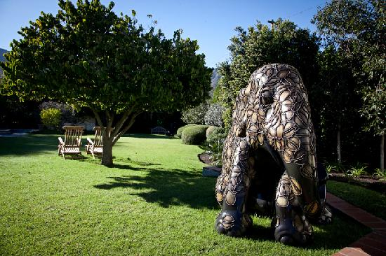 Avondrood Guest House: Garden with our elephant