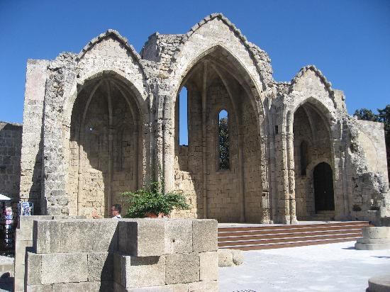 Rhodes Town, Greece: Ruins of a church of Our Lady of the Burgum