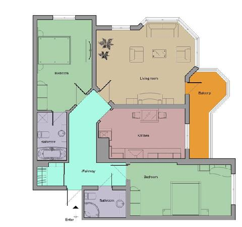 First Choice Apartments: floorplan of the flat I stayed in