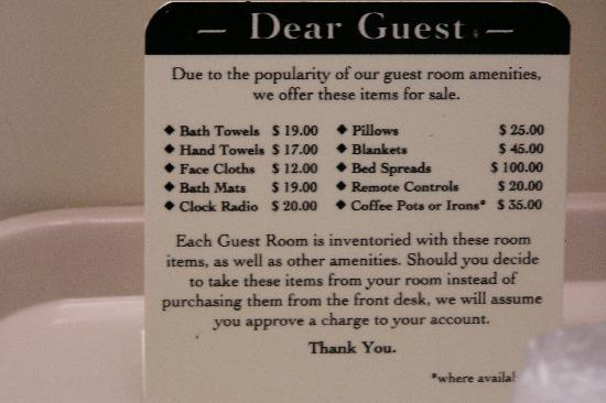 Sleep Inn & Suites: The price list.