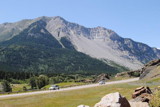 Frank Slide Interpretive Centre: A view of Turtle Mountain from the Bellevue Mine parking lot