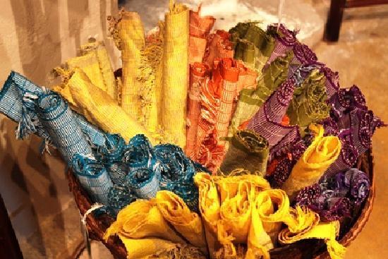 Ma Te Sai: Banana fibre placemats, I got mix of four colours as I failed to choose a favourite :)