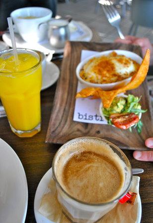 Bistro C : Cappucino, Juice & a delicious breakfast.