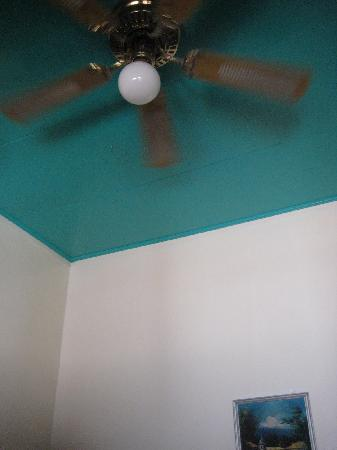 Boston Hotel: your friend, the fan, and beautiful turquoise ceiling