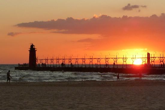 South Haven Lighthouses Sunset