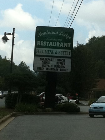 Newfound Lodge Restaurant: Took this picture to remember the name! So I could write this!!