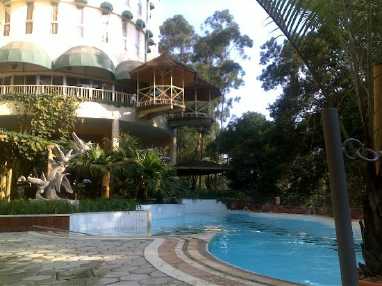 Golf course hotel from pool area