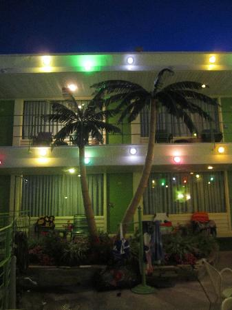 Caribbean Motel: The Caribbean with the fun evening lights.