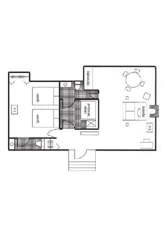 Century Suites Hotel: Flat Queen floor plan