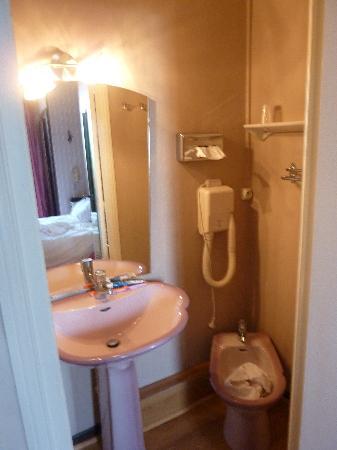 """Chateau Bellevue : La """"salle d'eau"""" comprenant un lavabo et un bidet, séparé de la douche qui se trouve dans le cou"""