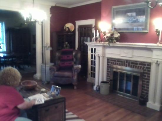The Olde Square Inn: the beautiful fireplace in the living room