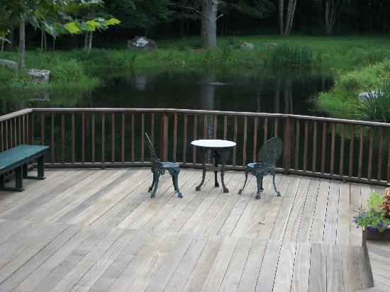 Enchanted Manor of Woodstock: table overlooking pond