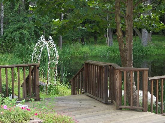 Enchanted Manor of Woodstock: deck steps leading to pond