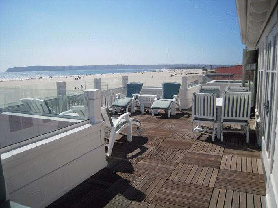 Beach Village at The Del: Our private sun deck.