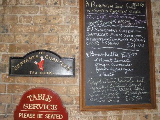 The Servants Quarters Tea Rooms: Blackboard specials