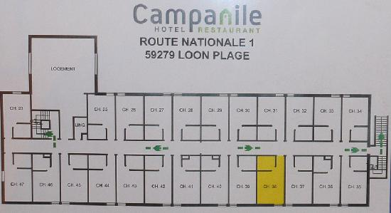 Campanile Dunkerque Sud - Loon Plage : Plan showing our room
