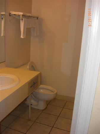 Gallus Stadium Park Inn, an Ascend Hotel Collection Member : Bathroom with stains on floor and repaired sheetrock.
