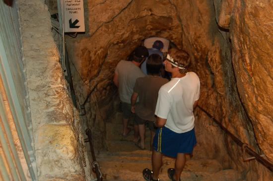 Hezekiah's Tunnel - Siloam Tunnel : These are the stairs that enter the tunnels. Turn left just after the bottom for the alternate r
