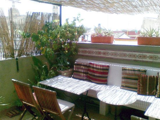 La Fonda Barranco: breakfast terrace, cathedral visible at left