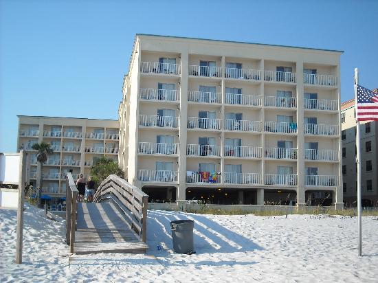 Hilton Garden Inn Orange Beach : View from beach looking at hotel.