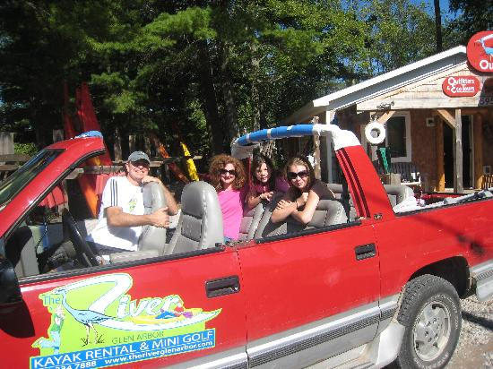 """The River Glen Arbor: ride in their """"fancy car"""" to put in"""