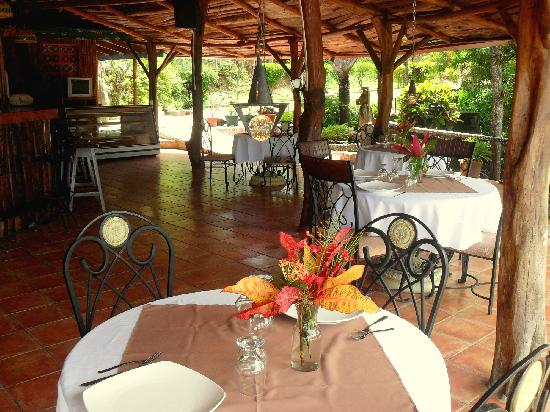 Brovilla Resort Hotel Restaurant: Dining under the the rustic palapa, surrounded by nature