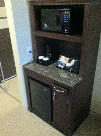 Refreshment center with microwave mini fridge coffee for Small apartment coffee maker