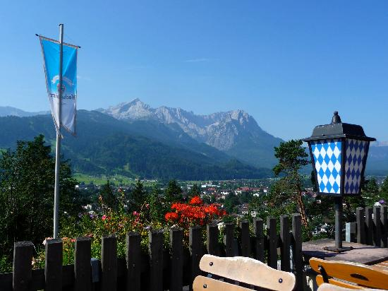 Berggasthof Panorama: View from the Terrace to The Zugspitze