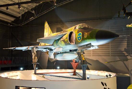 The Swedish Air Force Museum: A SAAB 37 Viggen on display