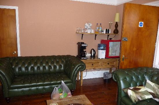 South Park Guest House: Lounge showing fridge and drink making facilities in the right hand corner
