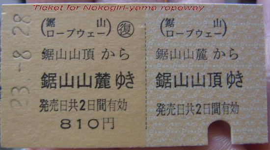 Mt. Nokogiri Ropeway: cable car ticket