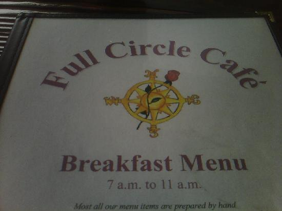 Full Circle Cafe: the menu