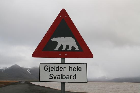 Radisson Blu Polar Hotel, Spitsbergen, Longyearbyen: Warnung vor Eisbären