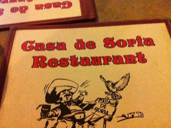 Casa DE Soria: Menu