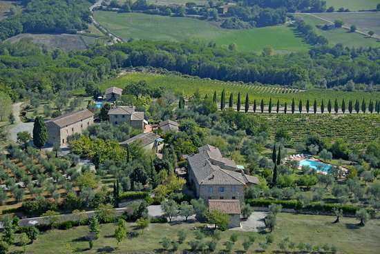 Aerial view of Fattoria Argiano in Chianti wine Estate