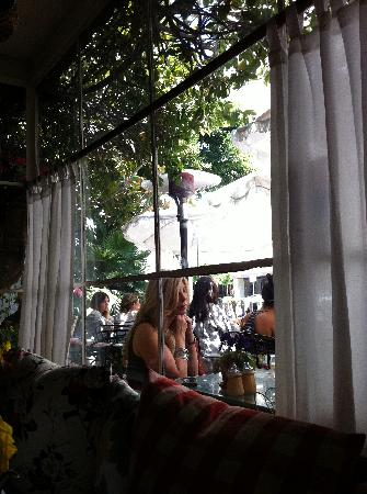 The Ivy: Looking out to the patio.
