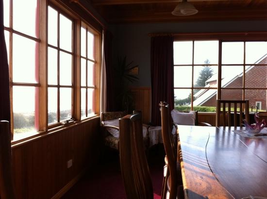 Hanlon House: view from dining room, looking out over Godfrey's beach
