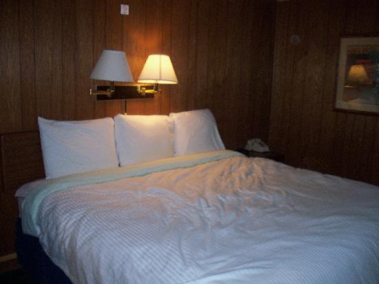 Our bed at the Badlands Motel.