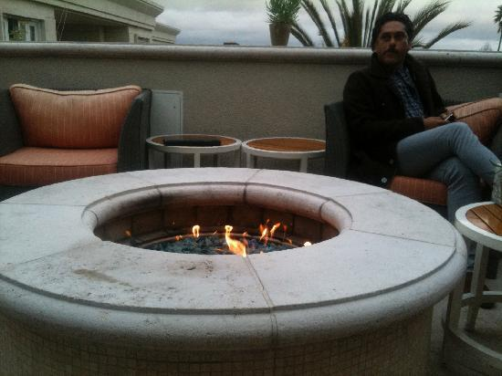 The Peninsula Beverly Hills: The fire pit 'smoking' area.