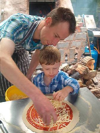 Taunton, UK: James shows my son Sam how to make a pizza