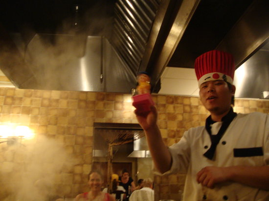 Kono Japanese Steakhouse: squirting us with water from his little toy